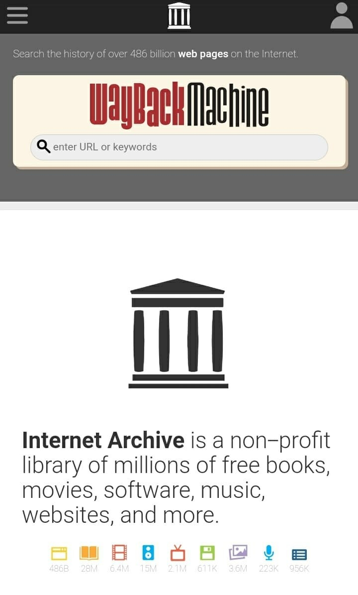"""The homepage of """"Internet Archive,"""" saying, """"Internet Archive is a non-profit library of millions of free books, movies, software, music, websites, and more."""""""