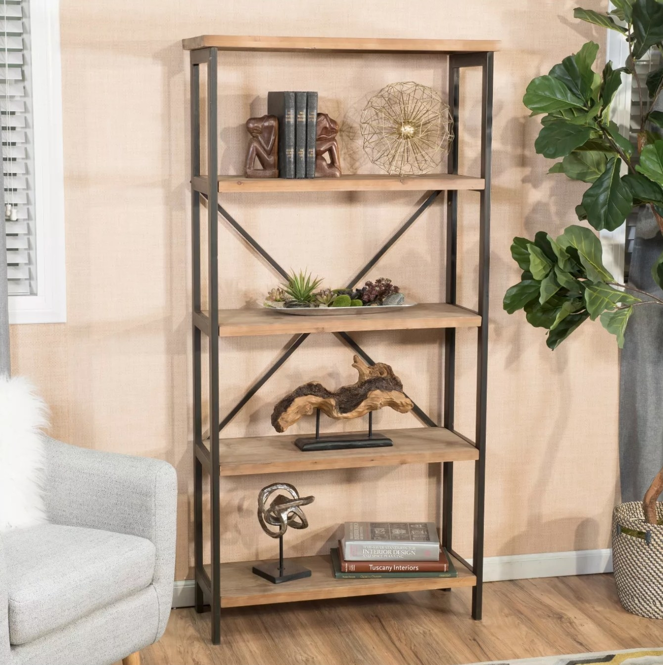The industrial bookcase made of wood and metal