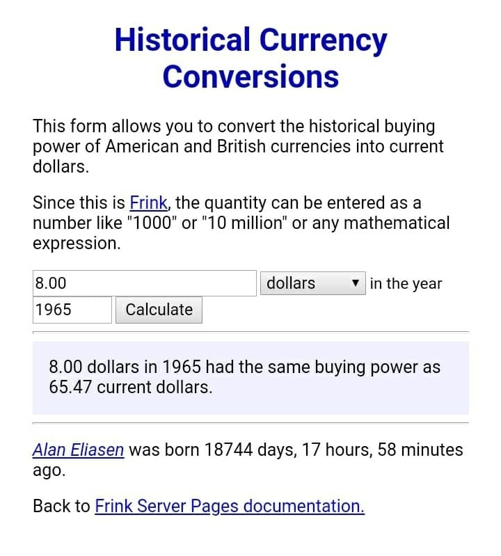"""The homepage calculator for """"Historical Currency Conversions"""" showing that 8 USD in the year 1965 had the same buying power as 65.47 current USD"""