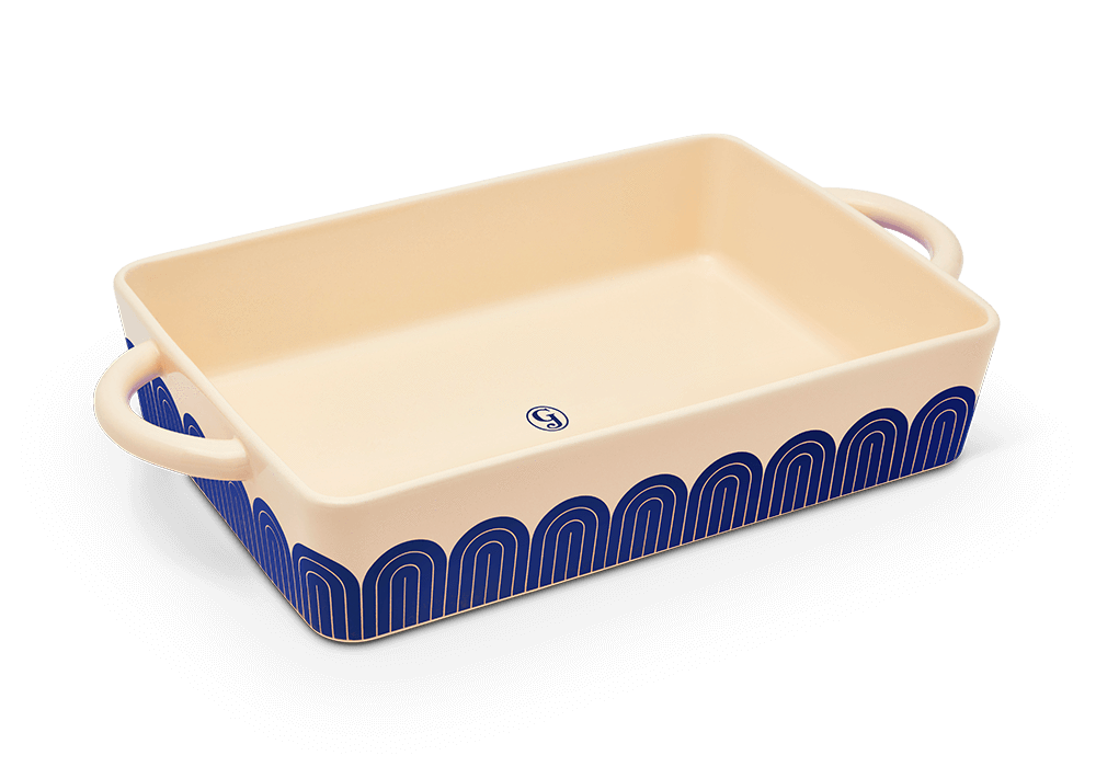 The double-handled dish in blueberry