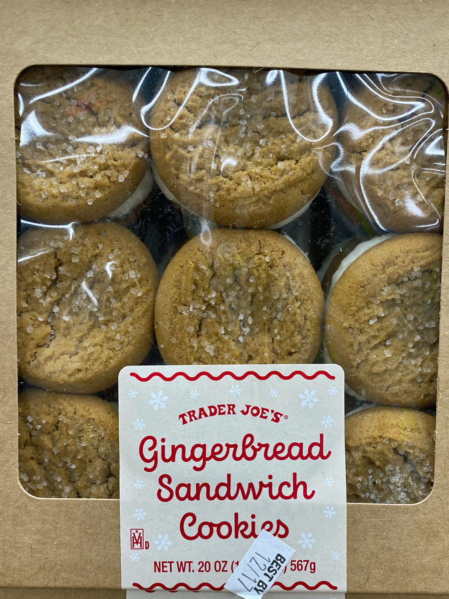 A package of gingerbread sandwich cookies from Trader Joe's.
