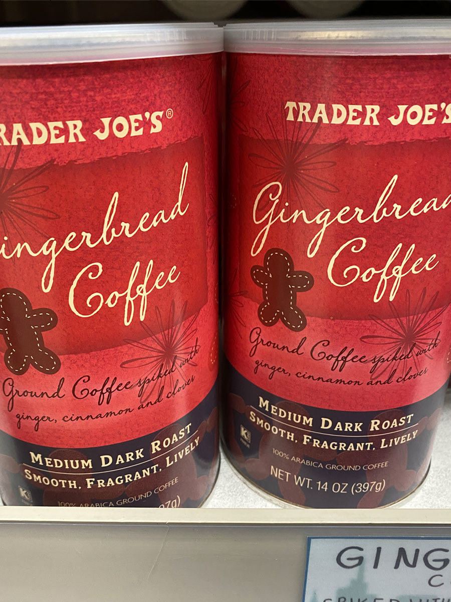 Two containers of Trader Joe's Gingerbread Coffee.