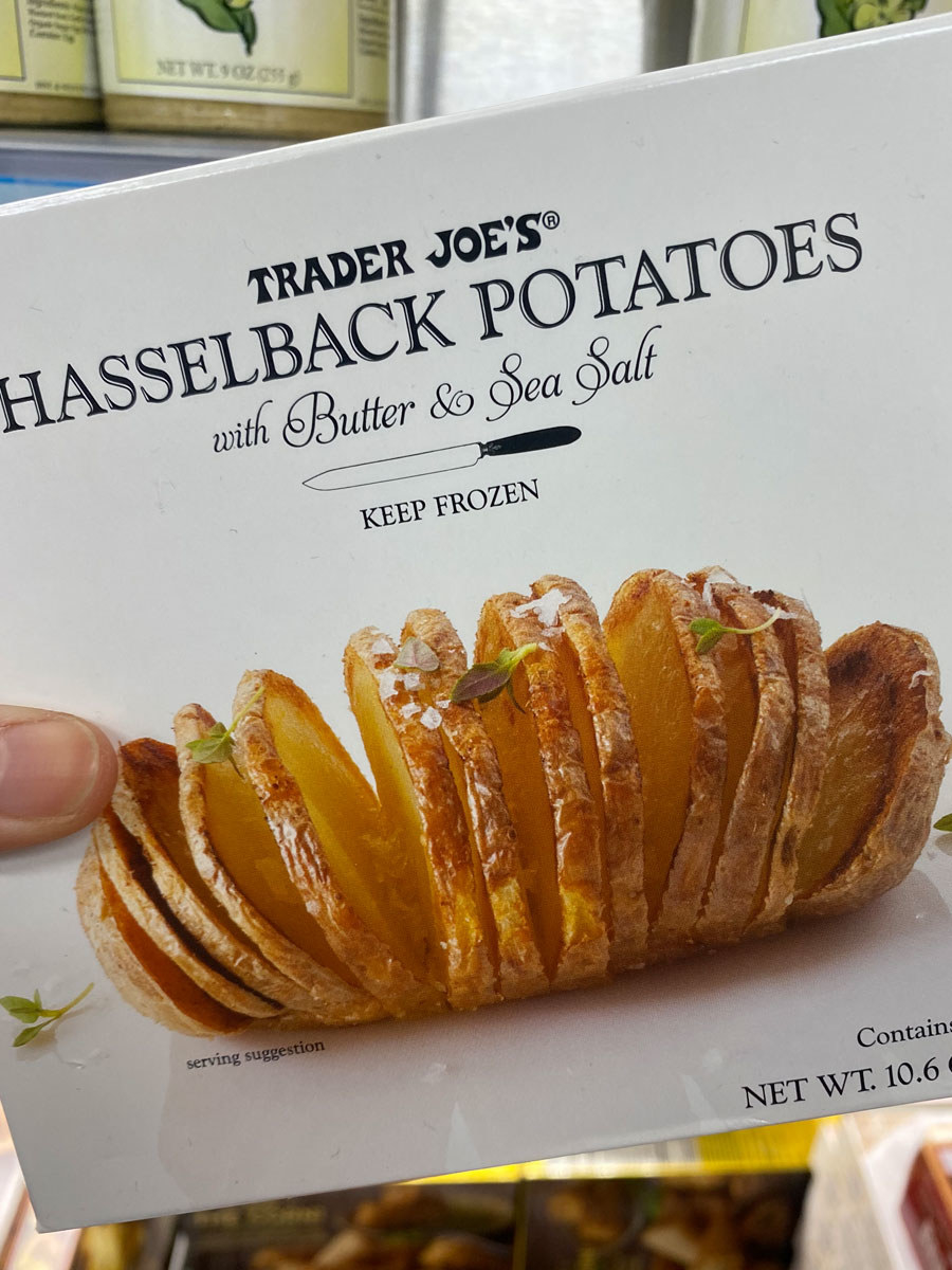 A box of Hasselback Potatoes With Butter & Sea Salt.