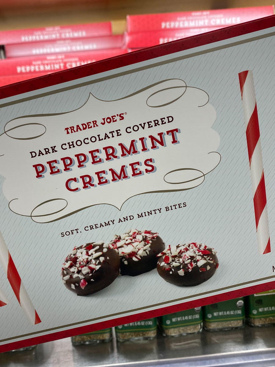 A box of Dark Chocolate Covered Peppermint Cremes.