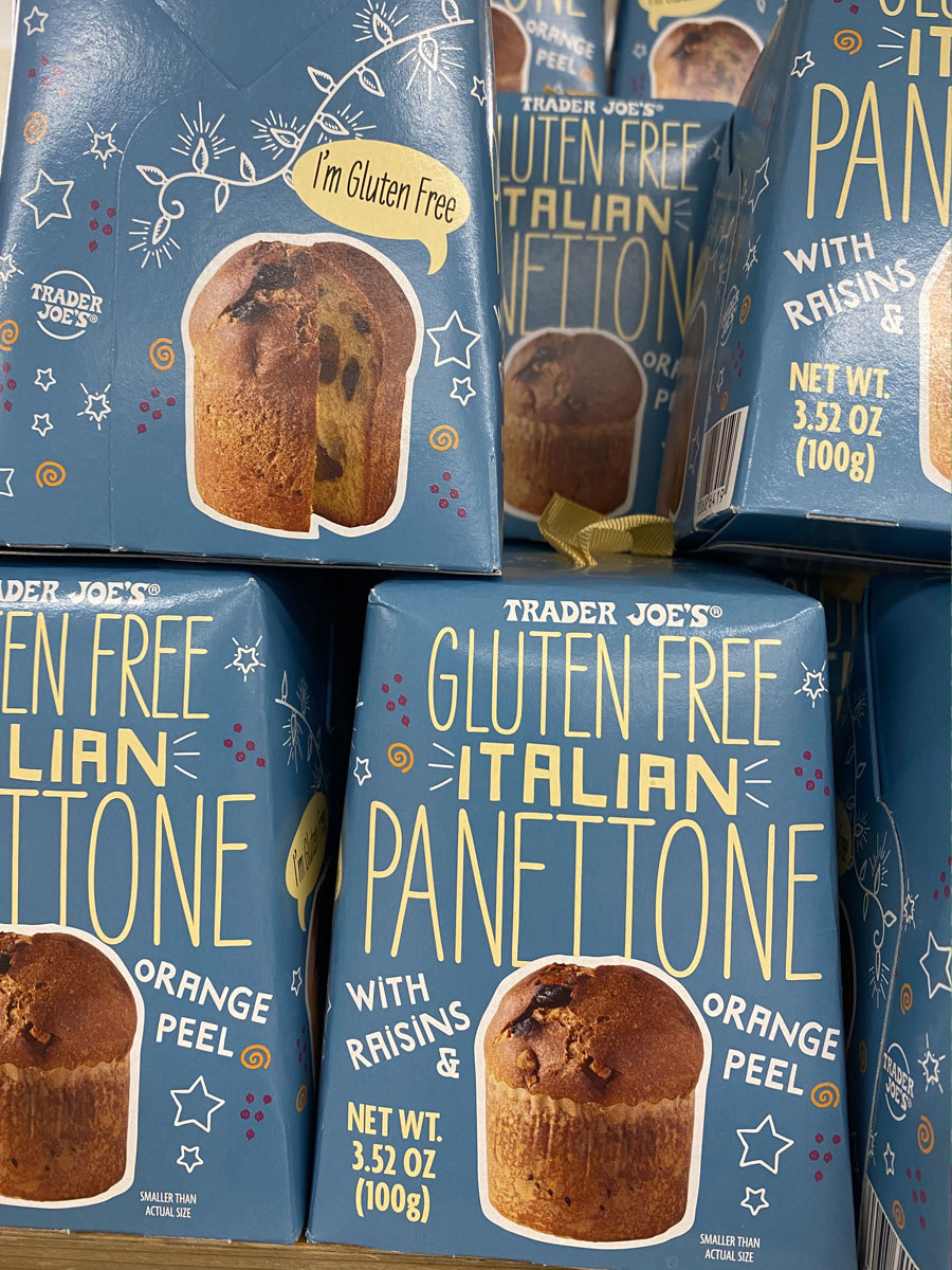 Several boxes of Gluten-Free Italian Panettone from Trader Joe's.