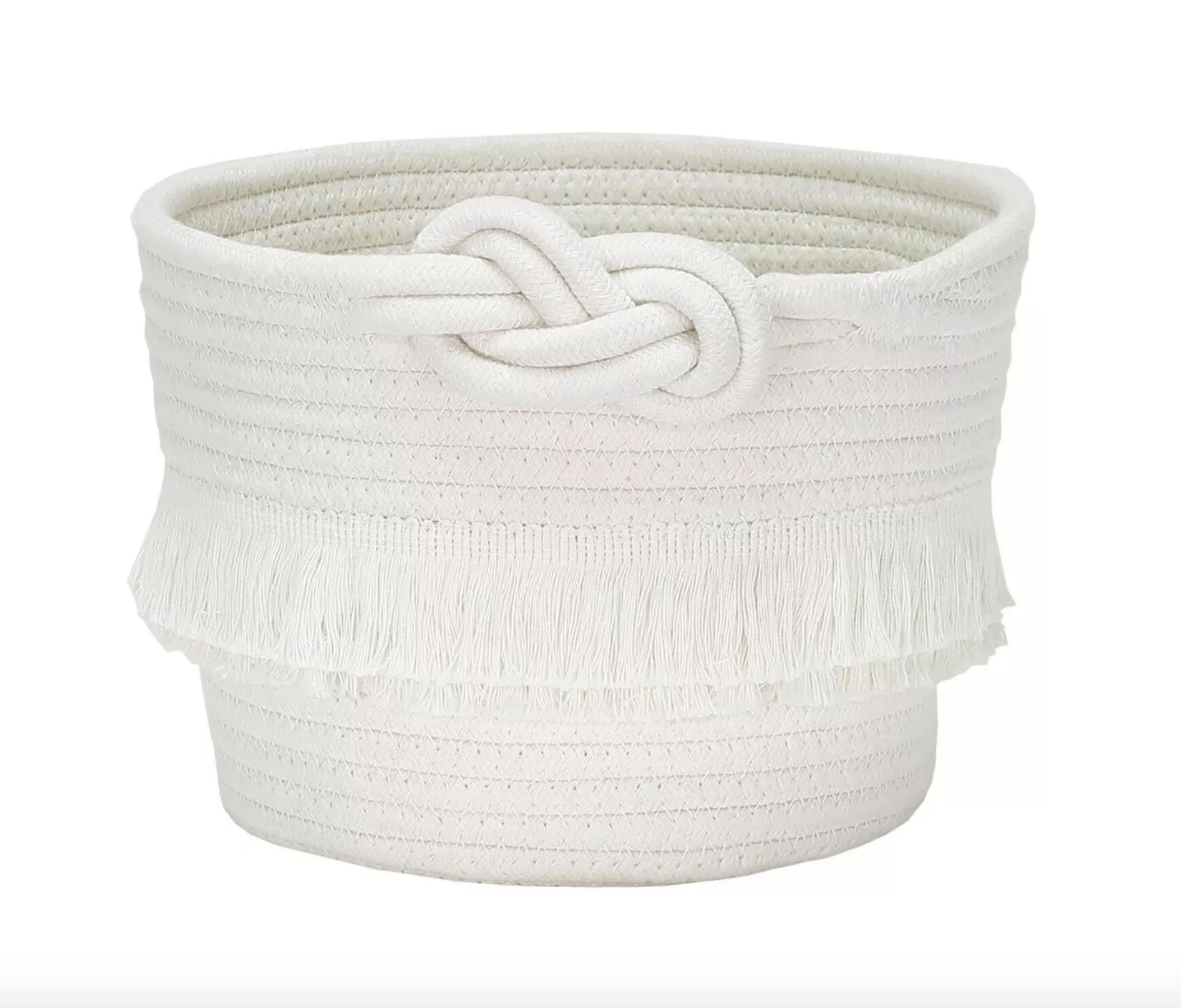 The decorative toy storage basket in white