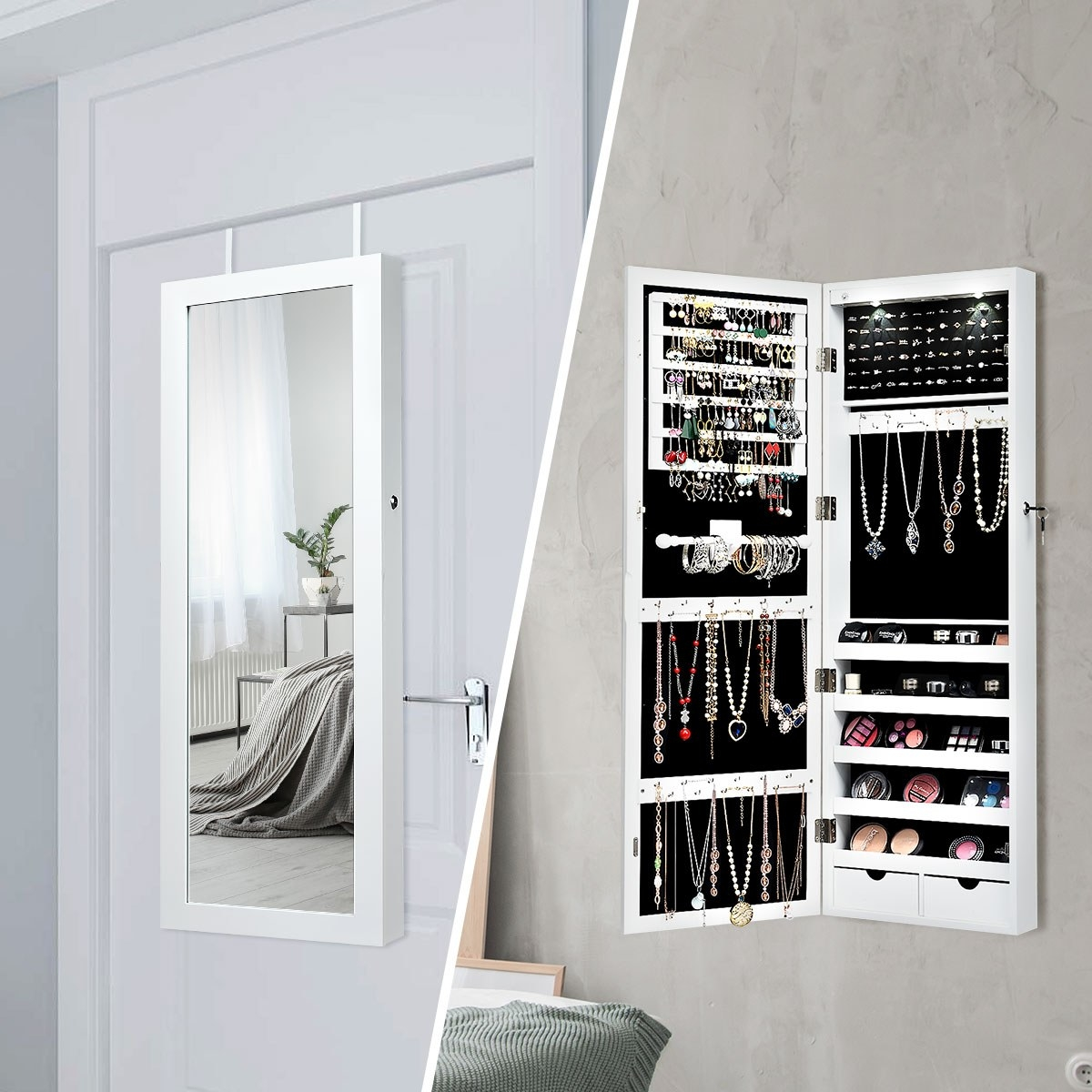 A photo set with mirror hung over the door (left) and the same mirror opened, revealing jewelry inside