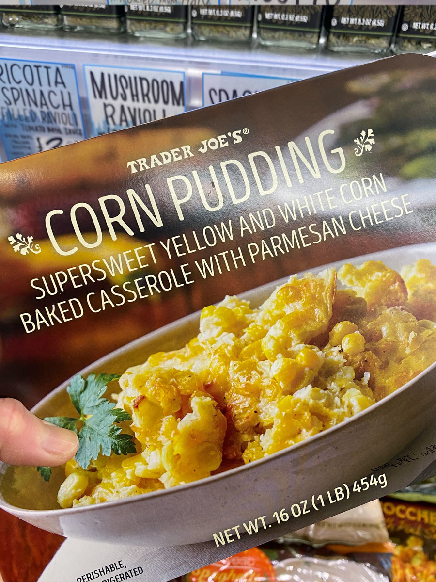 A box of frozen corn pudding from Trader Joe's.