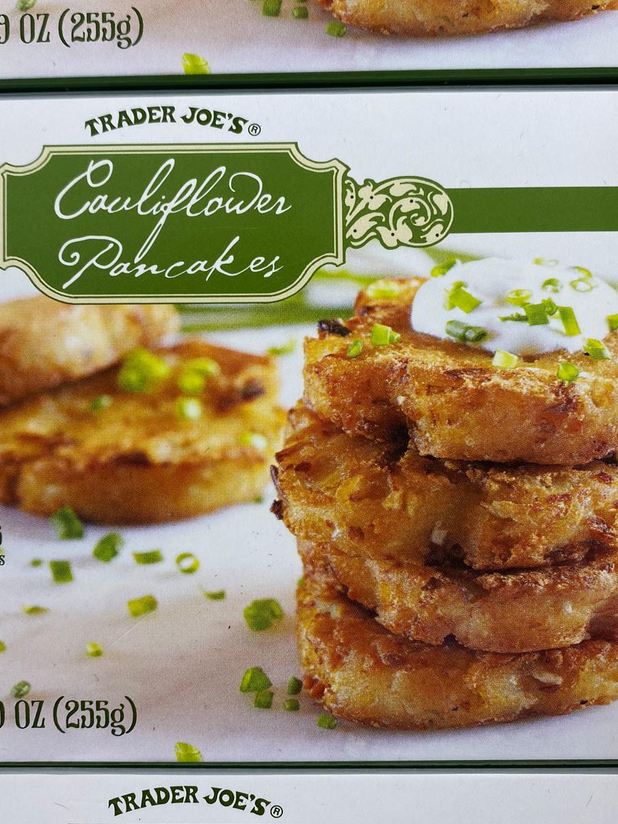 A box of frozen cauliflower pancakes from Trader Joe's.
