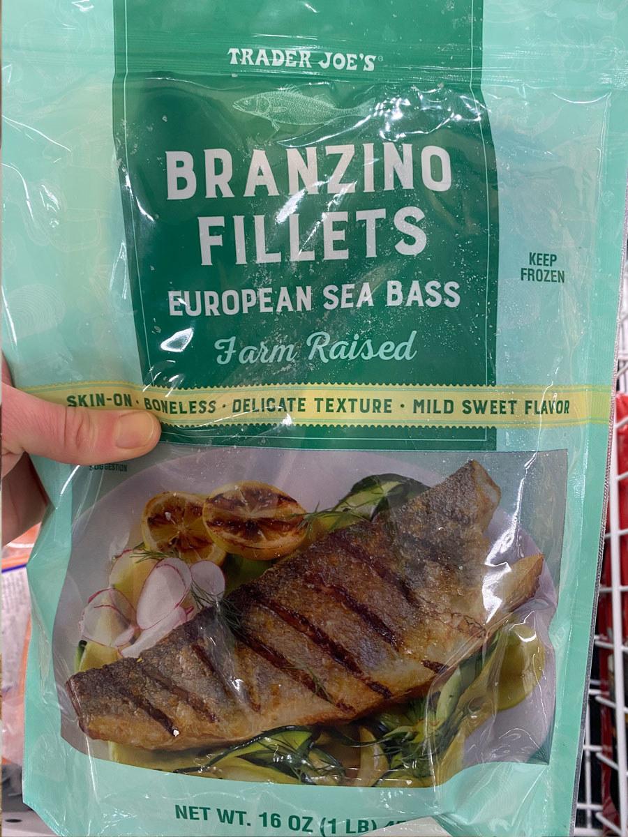 A bag of frozen branzino fillets.