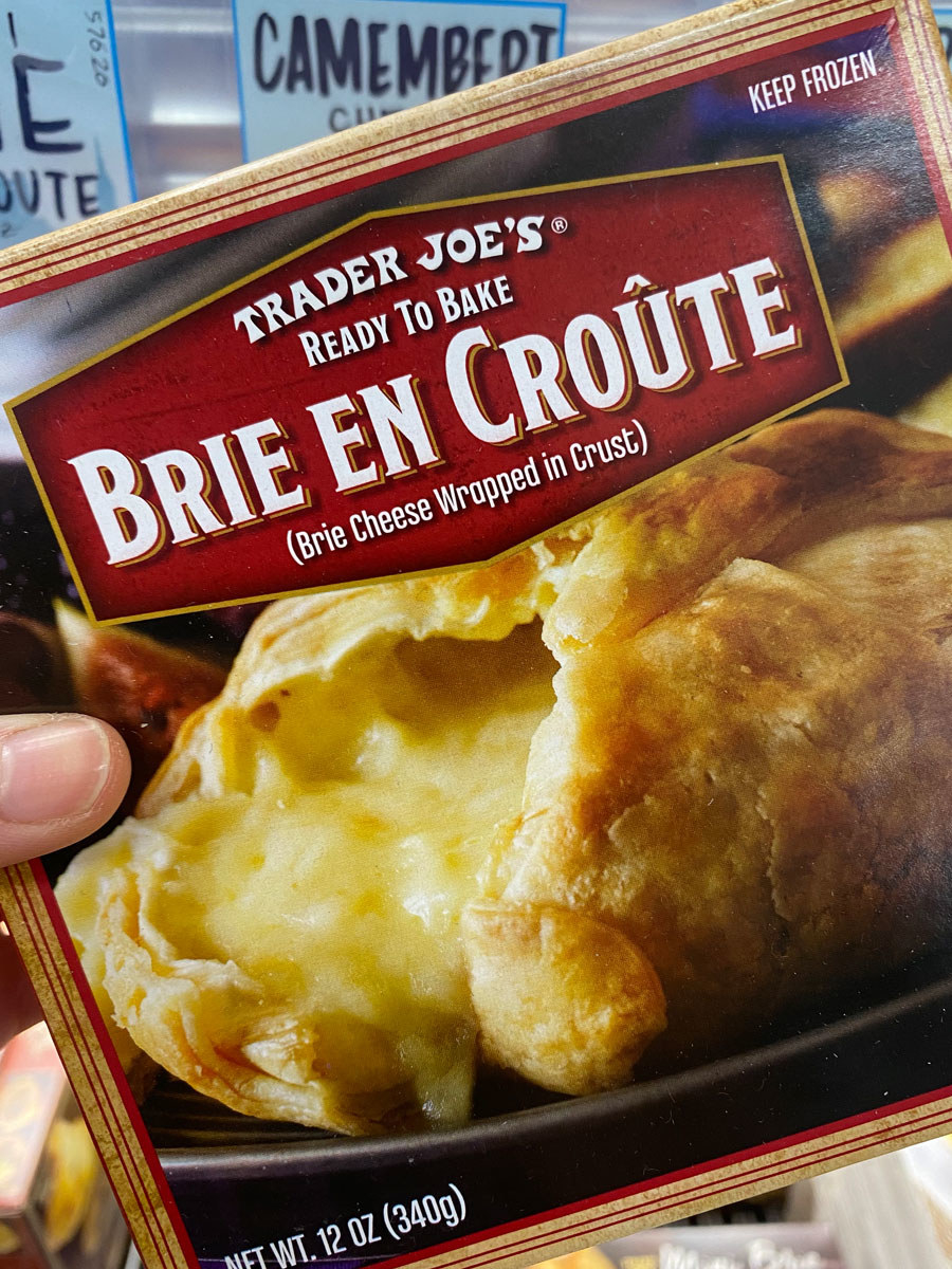 A box of frozen Brie in puff pastry from Trader Joe's.
