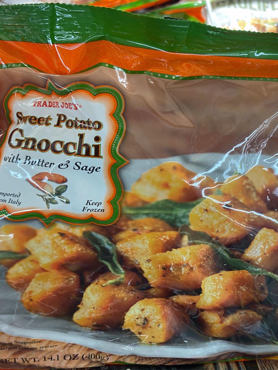 A bag of frozen sweet potato gnocchi from Trader Joe's.