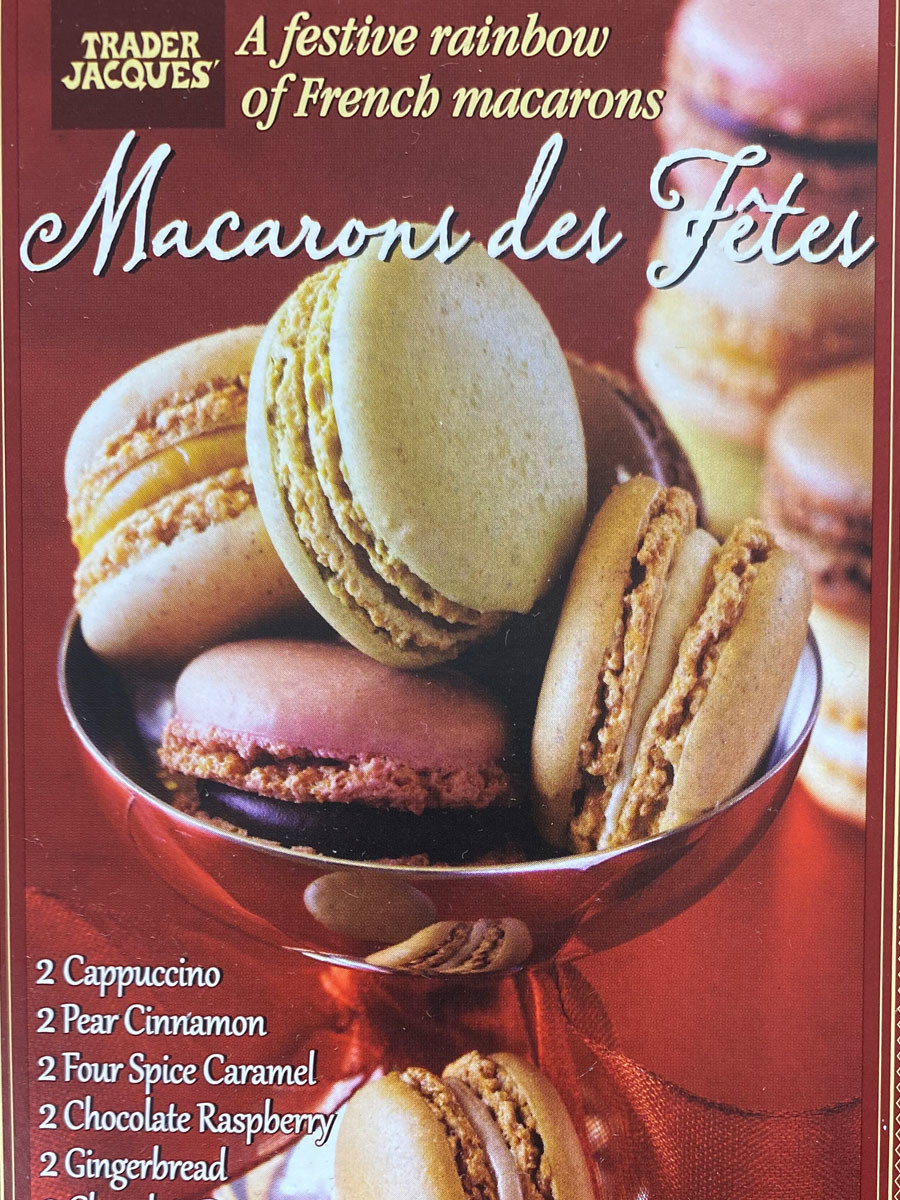 A box of frozen Macarons des Fêtes from Trader Joe's.