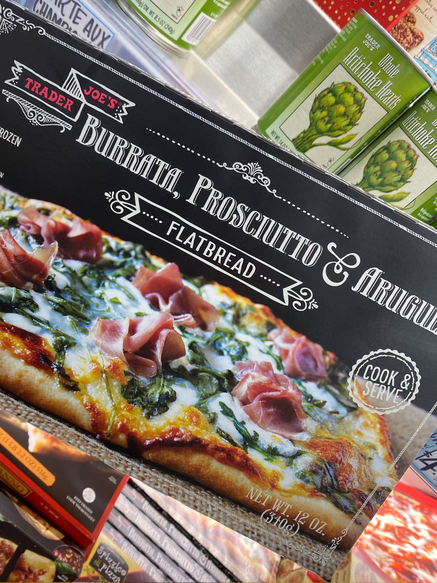 A box of frozen flatbread from Trader Joe's.