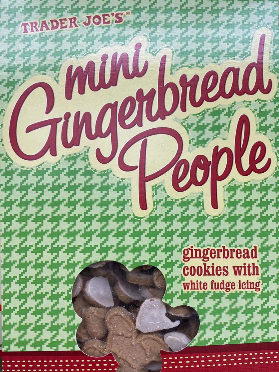 A box of Trader Joe's Mini Gingerbread People.