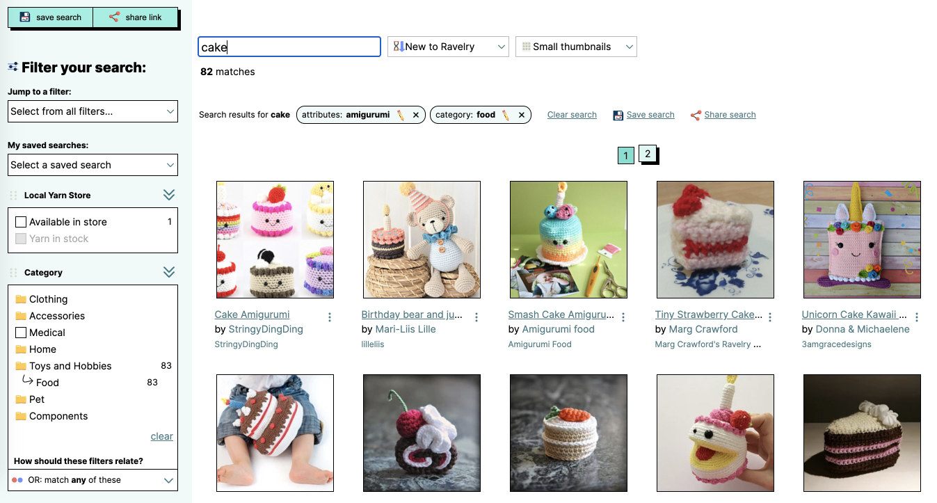 """Search results from """"Ravelry"""" showing different stitch patterns for cake"""