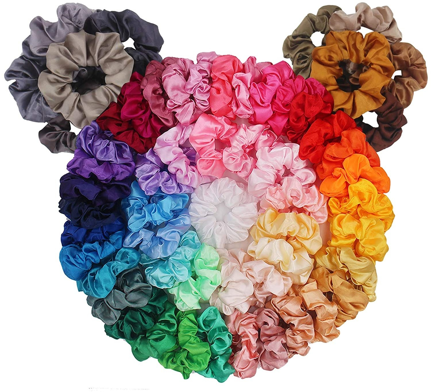 all 60 scrunchies piled together in the shape of a teddy bear