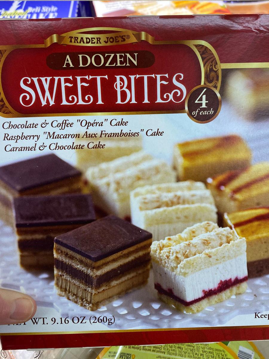"A box of ""A Dozen Sweet Bites"" from Trader Joe's."