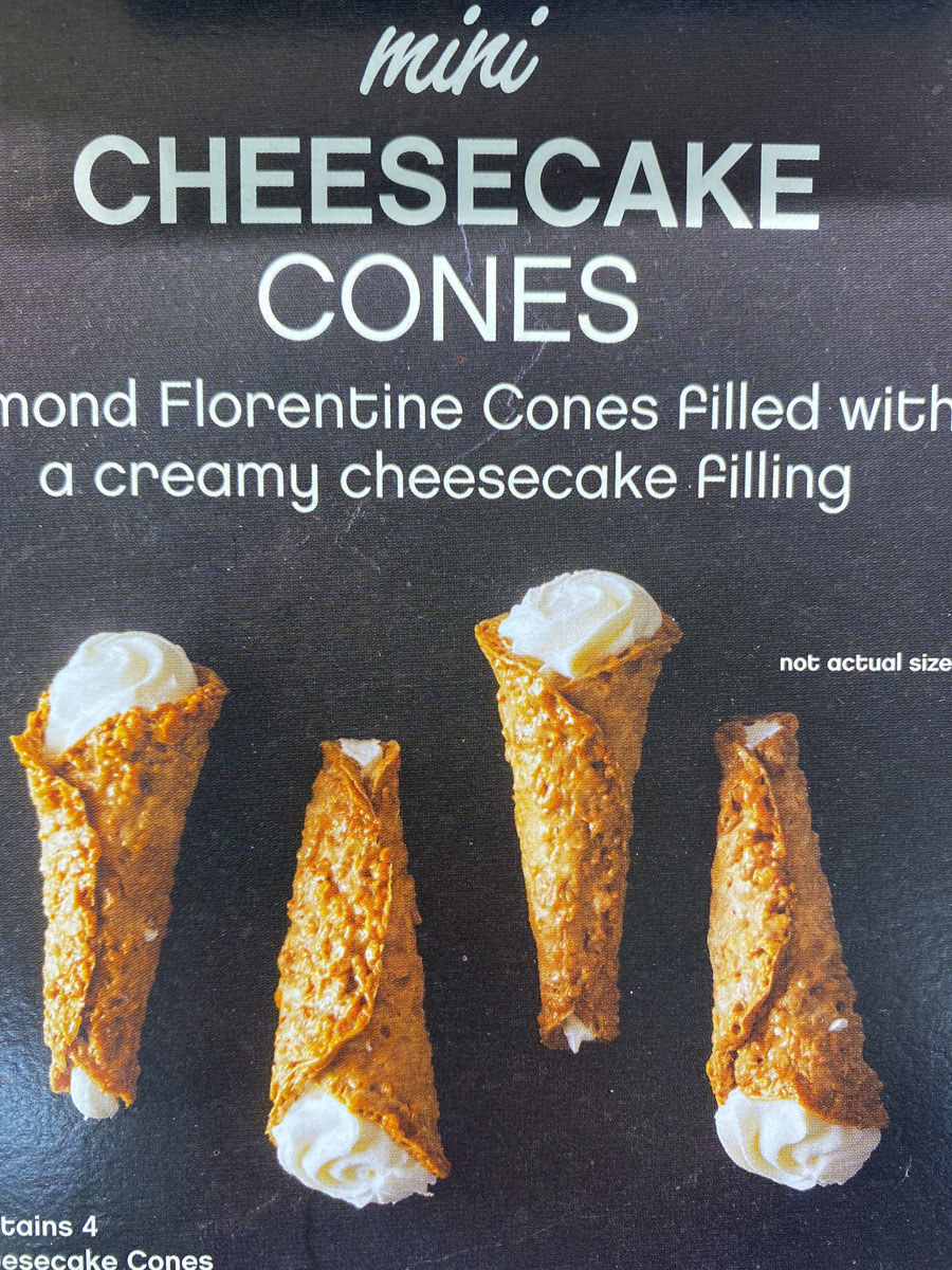 A box of mini cheesecake-filled cones from Trader Joe's.