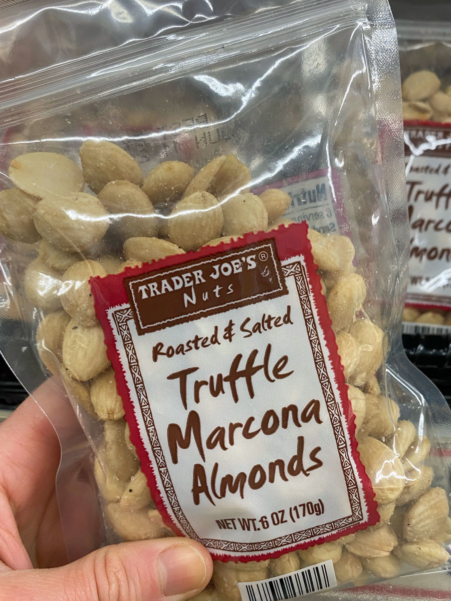 A bag of truffle salted marcona almonds.