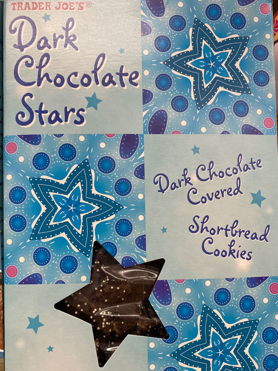 A box of Trader Joe's dark chocolate covered short bread cookies.
