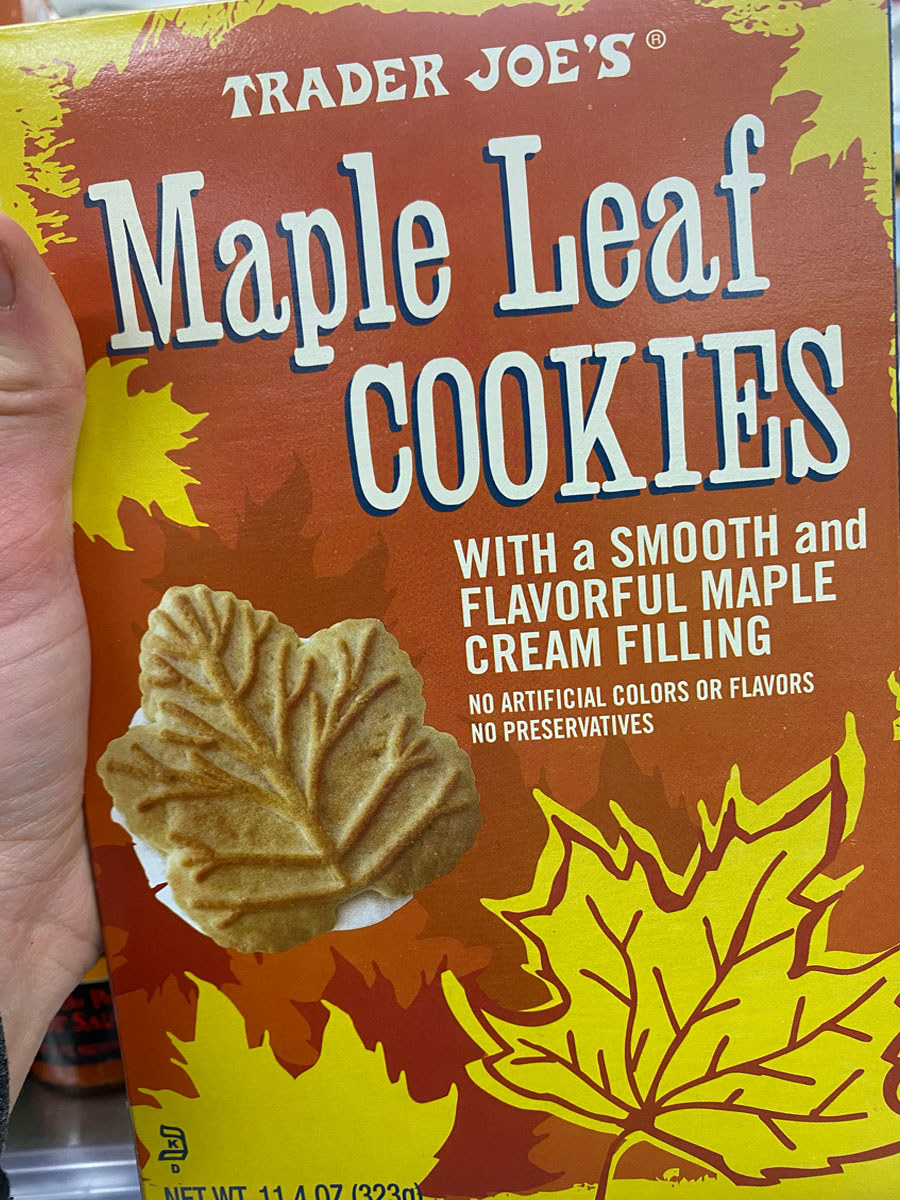 A box of Maple Leaf cookies with cream filling from Trader Joe's.