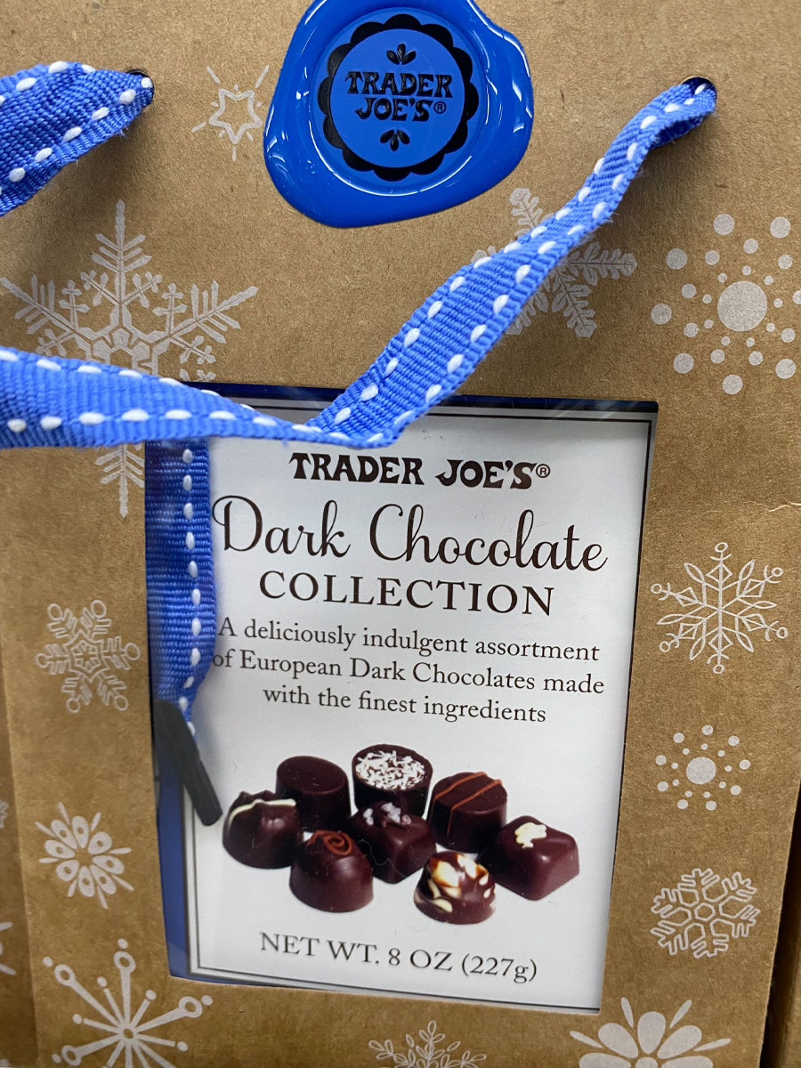 A bag of European dark chocolates with different fillings from Trader Joe's.