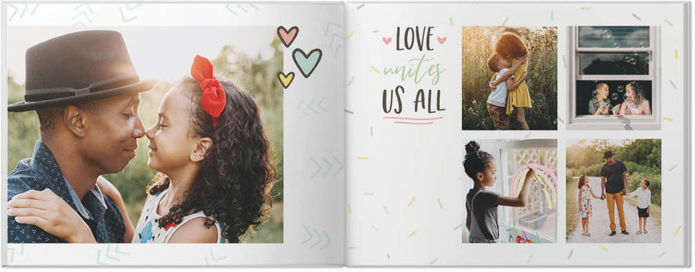 "sample pages from a photo book that says ""love unites us all"" and features photos of a family"