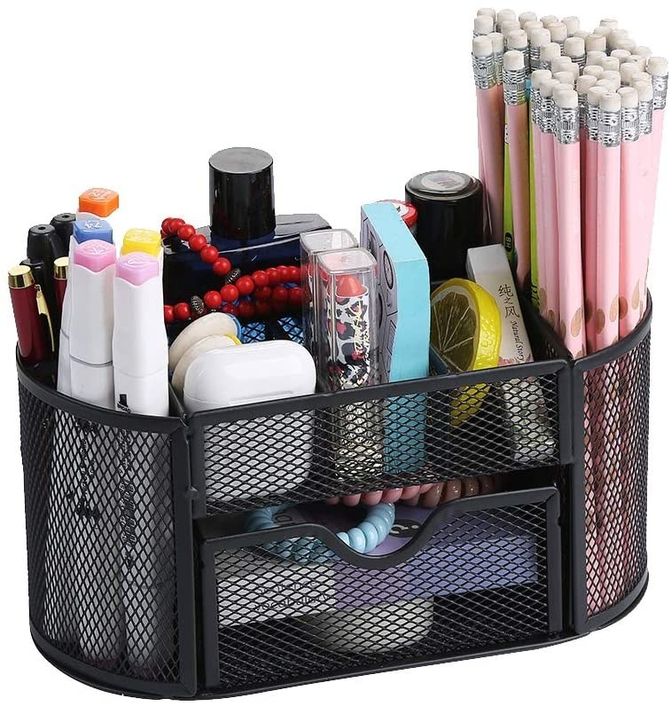 the mesh desk organizer with pens and pencils