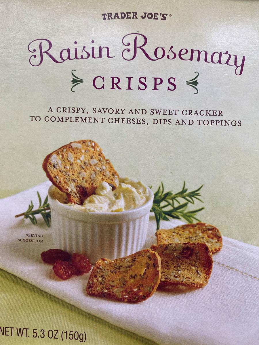 A box of Trader Joe's Raisin Rosemary Crisps.