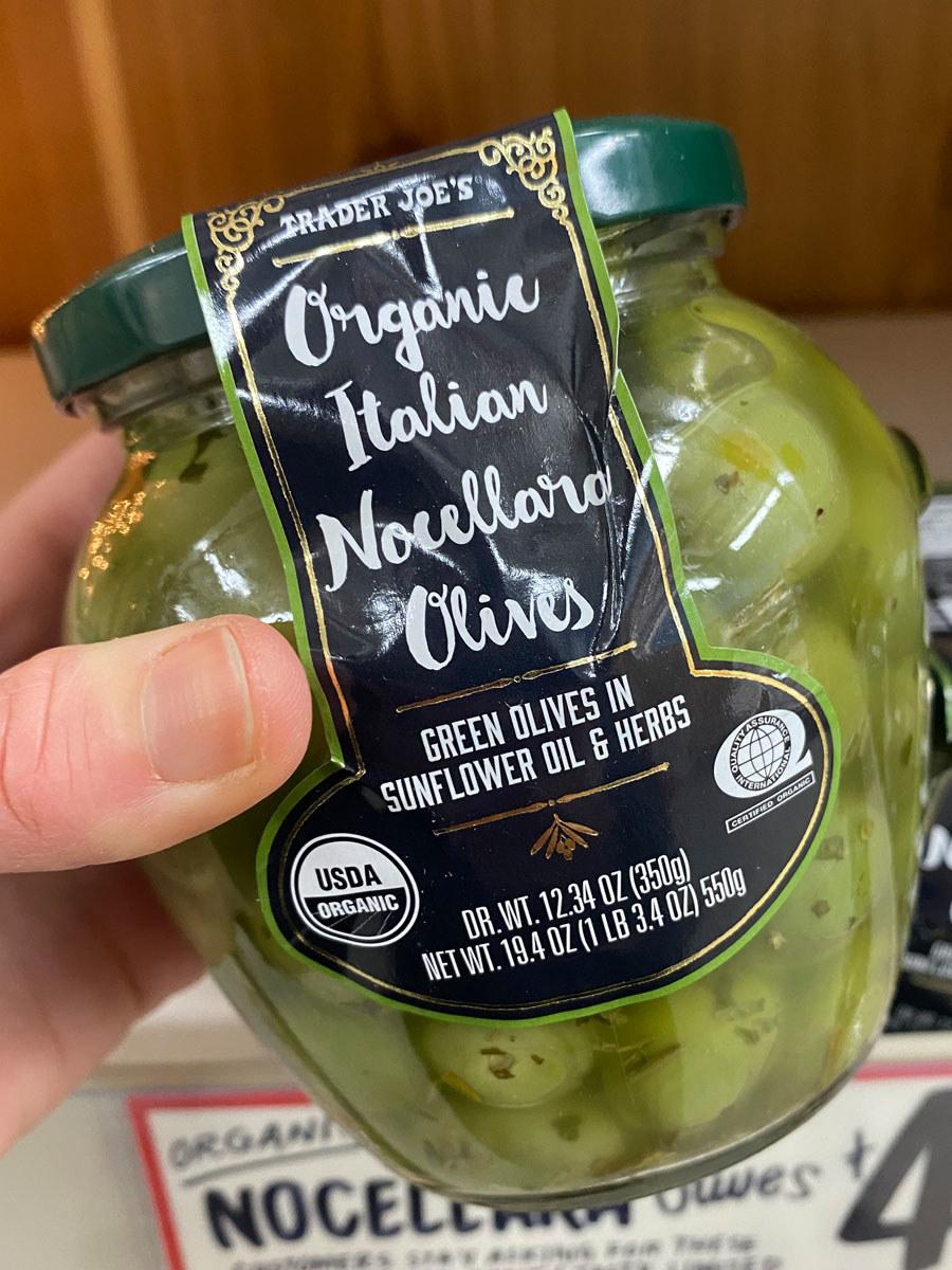 A big jar of Organic Italian Nocellara Olives.