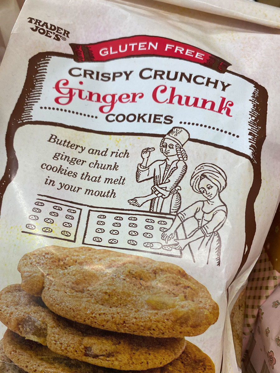 A bag of Crispy Crunchy Ginger Chunk Cookies from Trader Joe's.