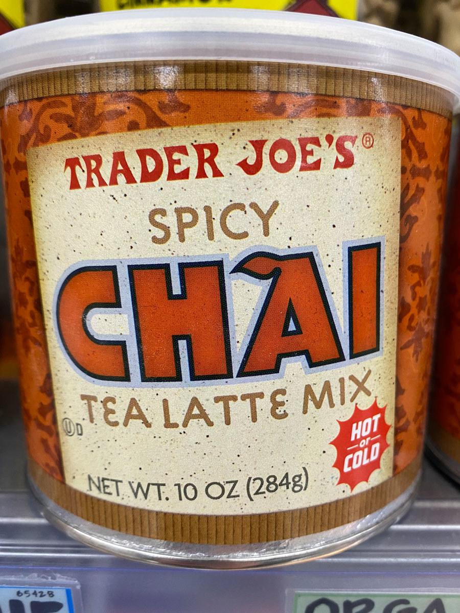 A jar of Trader Joe's Chai tea latte mix.