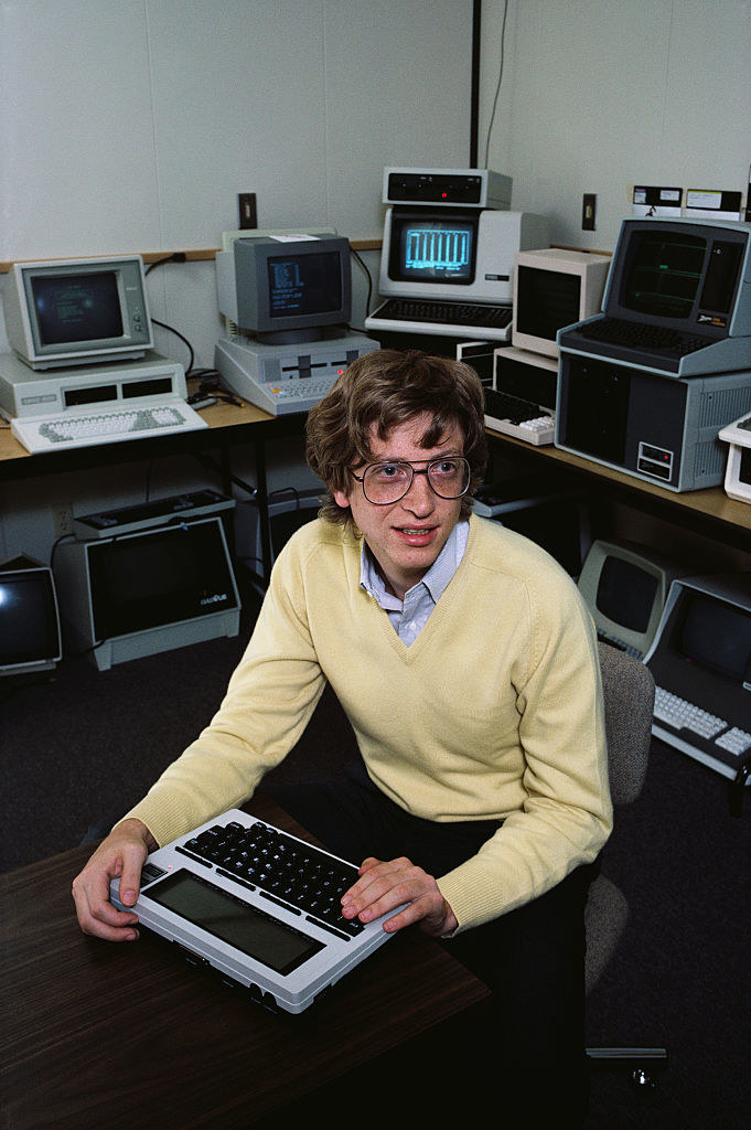 Bill and some computers lookin nerdy and young