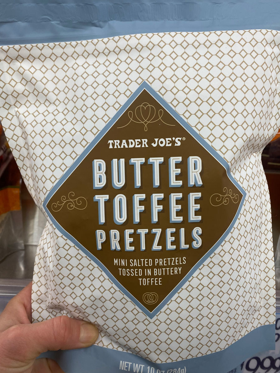 A bag of butter toffee pretzels from Trader Joe's.