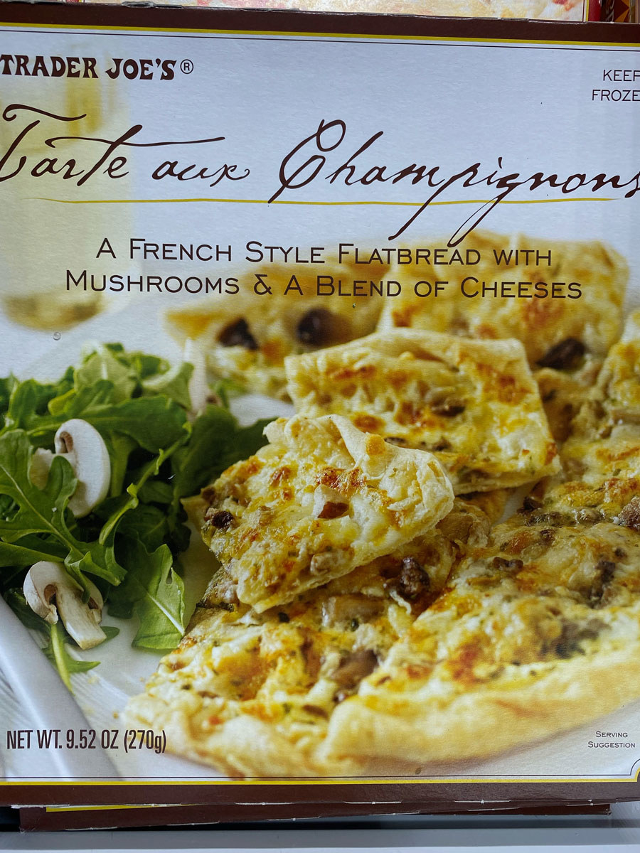 A box of Tarte Aux Champginons from Trader Joe's frozen aisle.