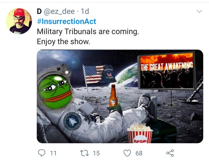 """A Trump supporter's tweet is shown saying """"Military Tribunals are coming."""""""