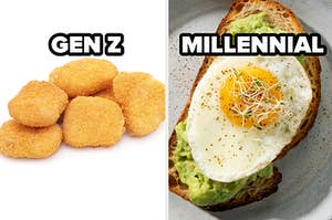 gen z label over chicken nuggets and millennial label over avocado toast