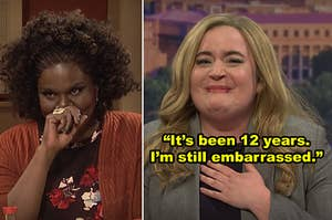 """Side-by-side of Leslie Jones and Aidy Bryant laughing during """"SNL"""" sketches"""