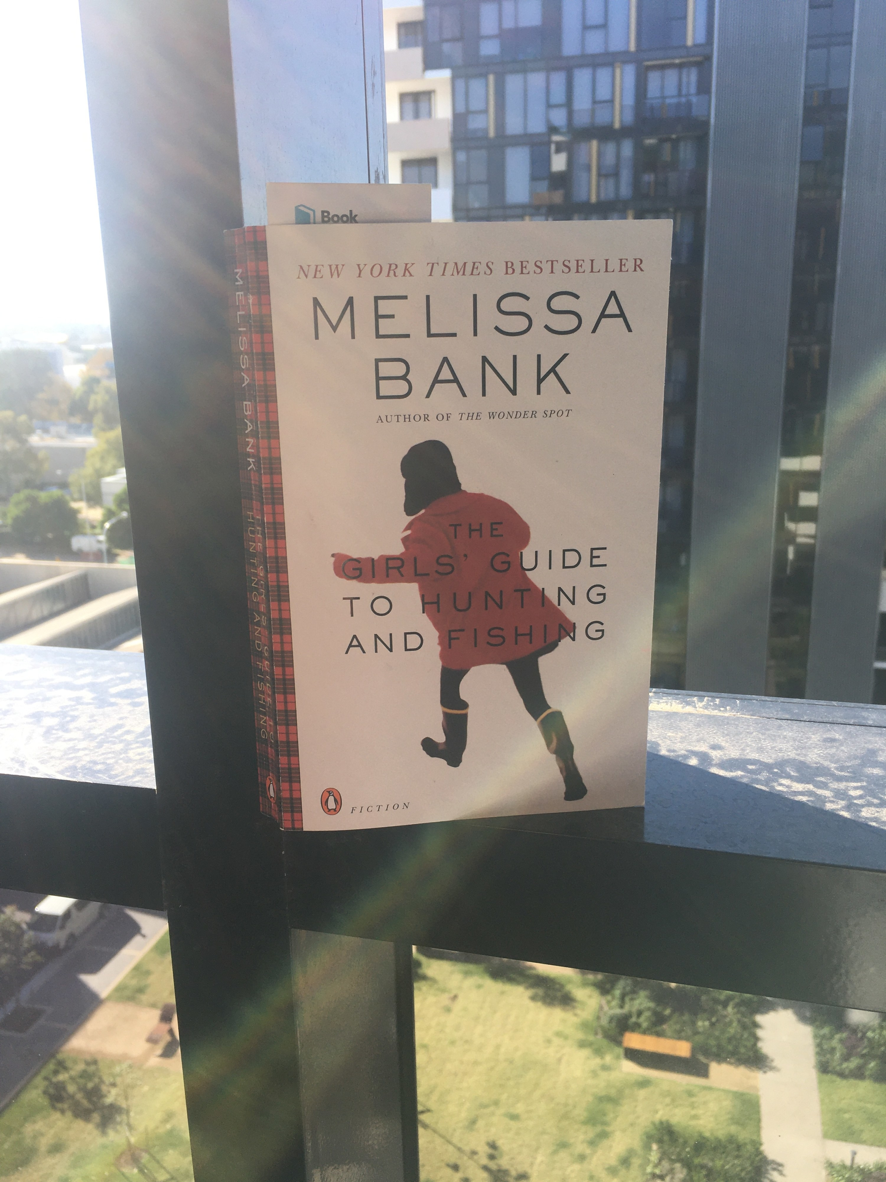Book sitting on a window ledge showing a girl in a red jacket running away