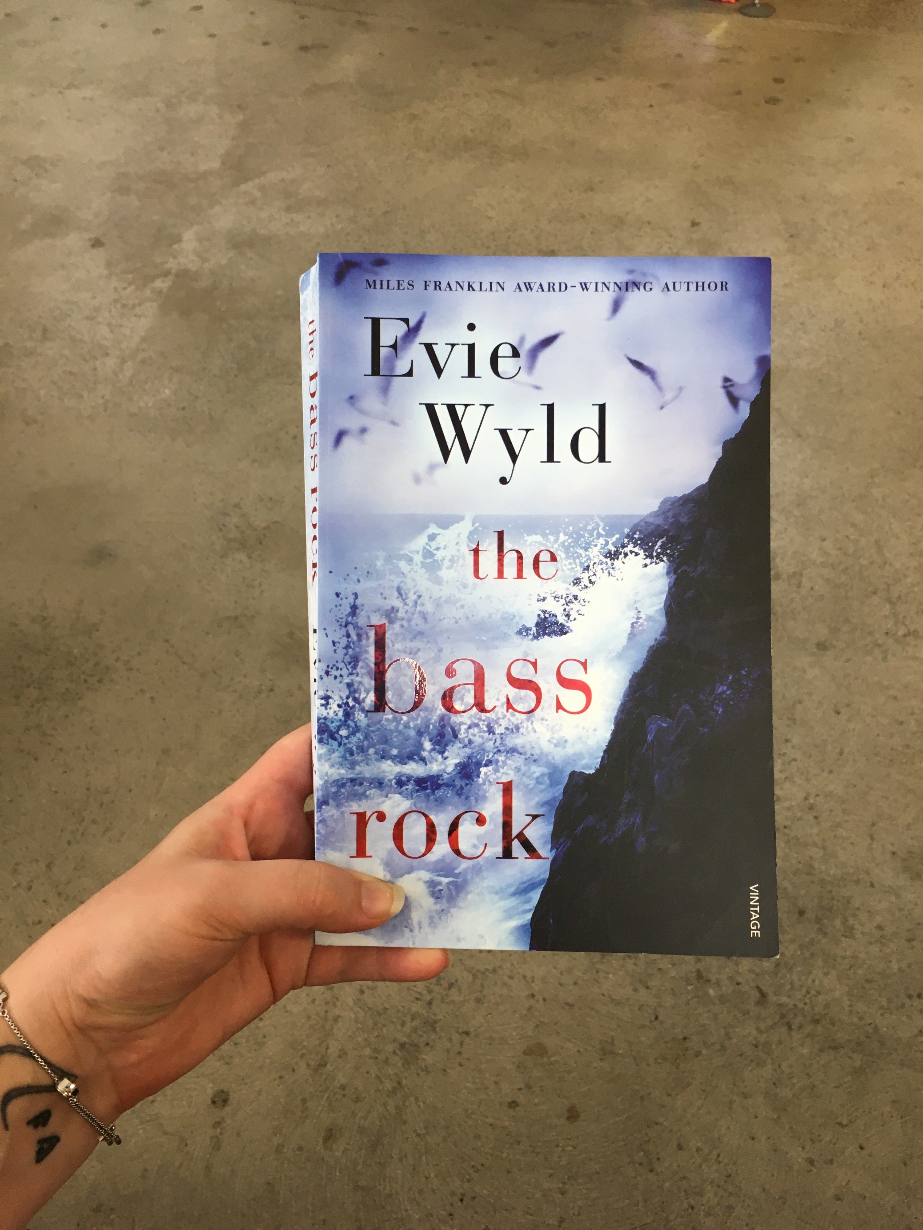 Hand holding a book that shows waves crashing onto a rock