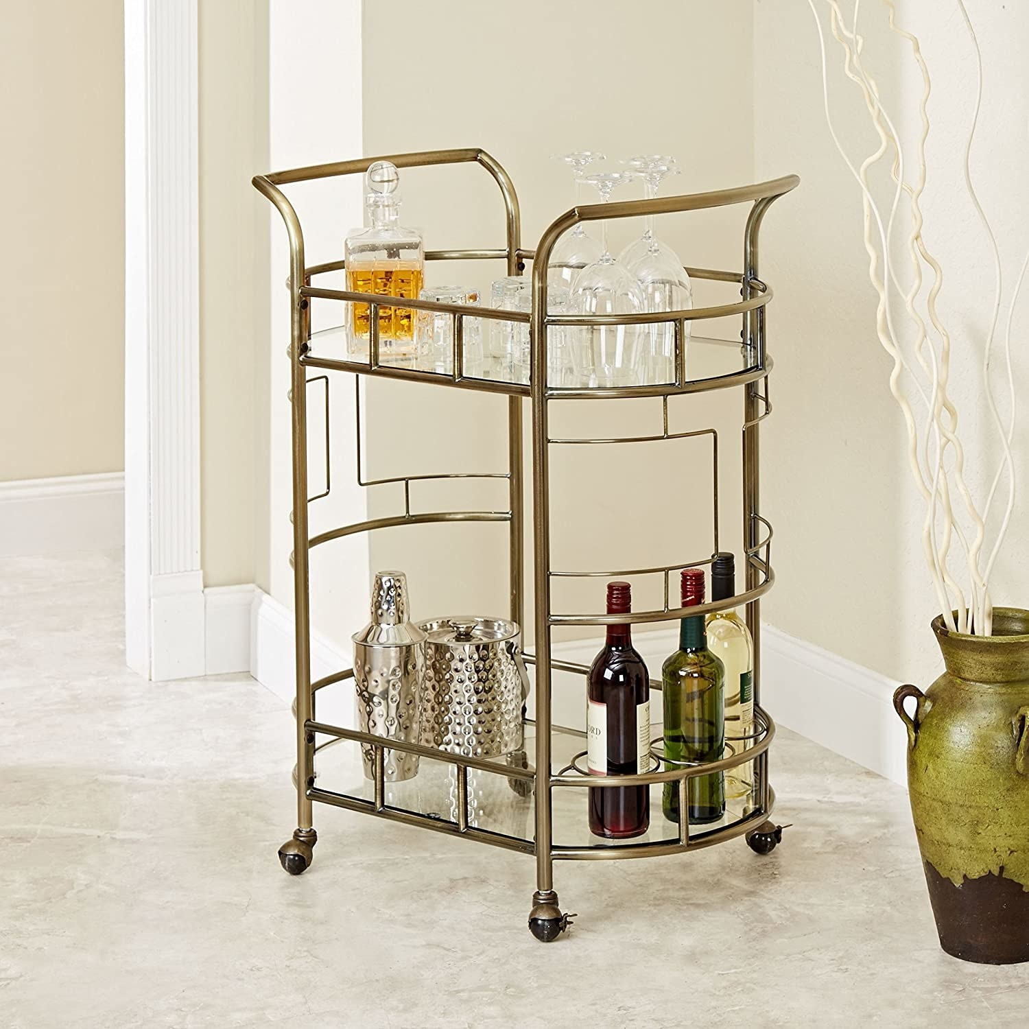 two tier bar cart in hammered bronze finish