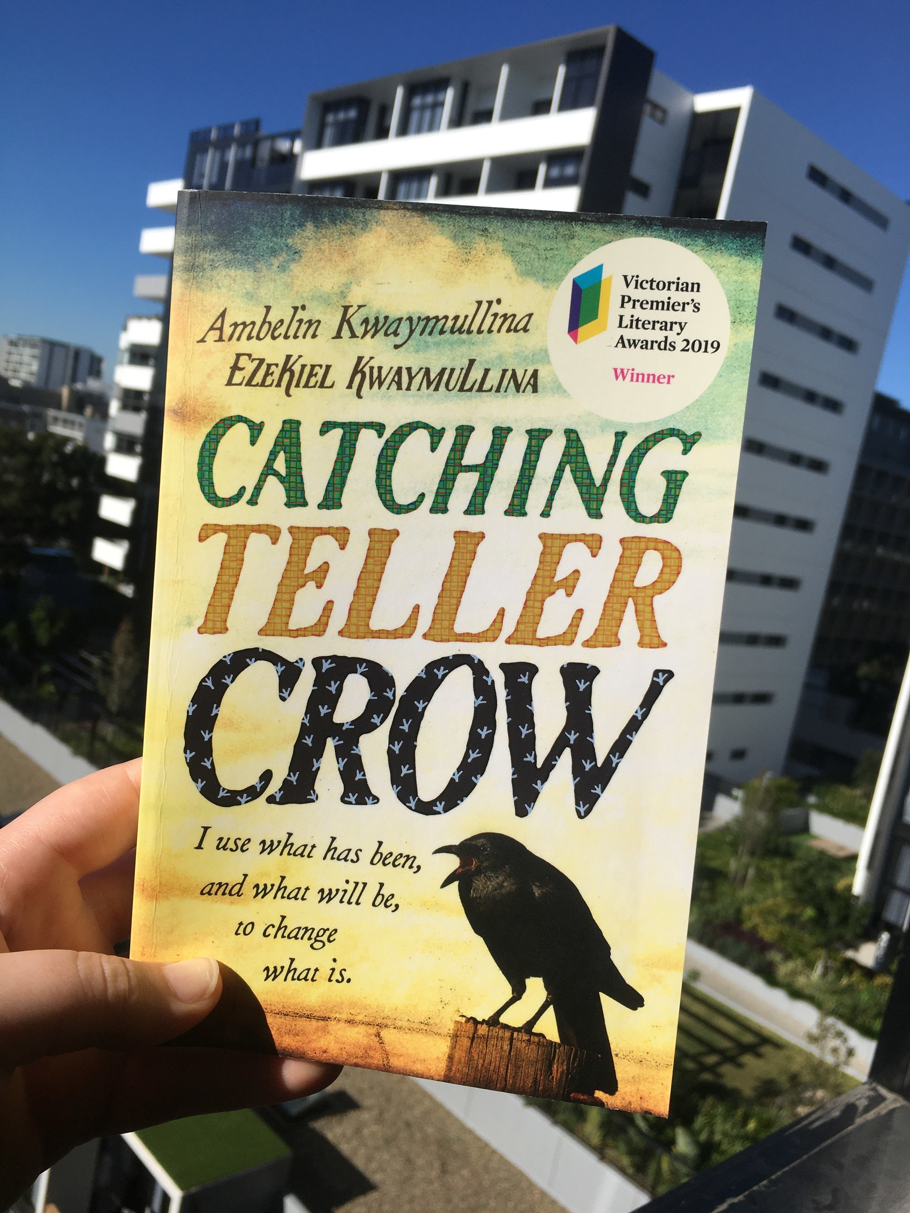 """Book cover showing a crow sitting on a fence post with a """"Victorian Premier's Literary Awards 2019"""" Winner sticker"""