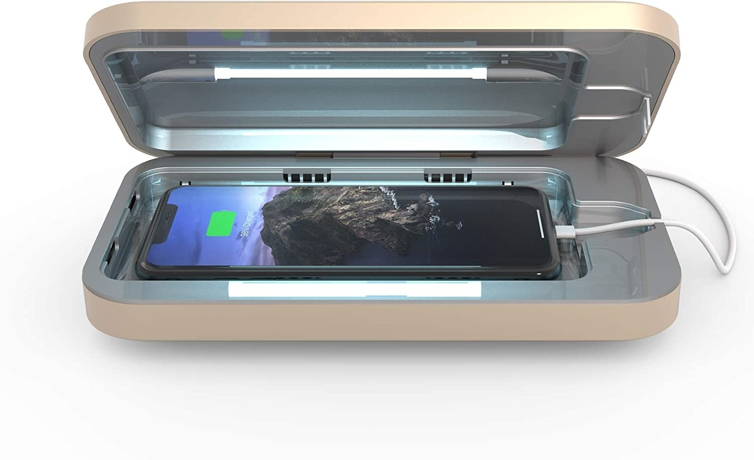 open phonesoap device with a phone inside charging and light shining on the phone to sanitize