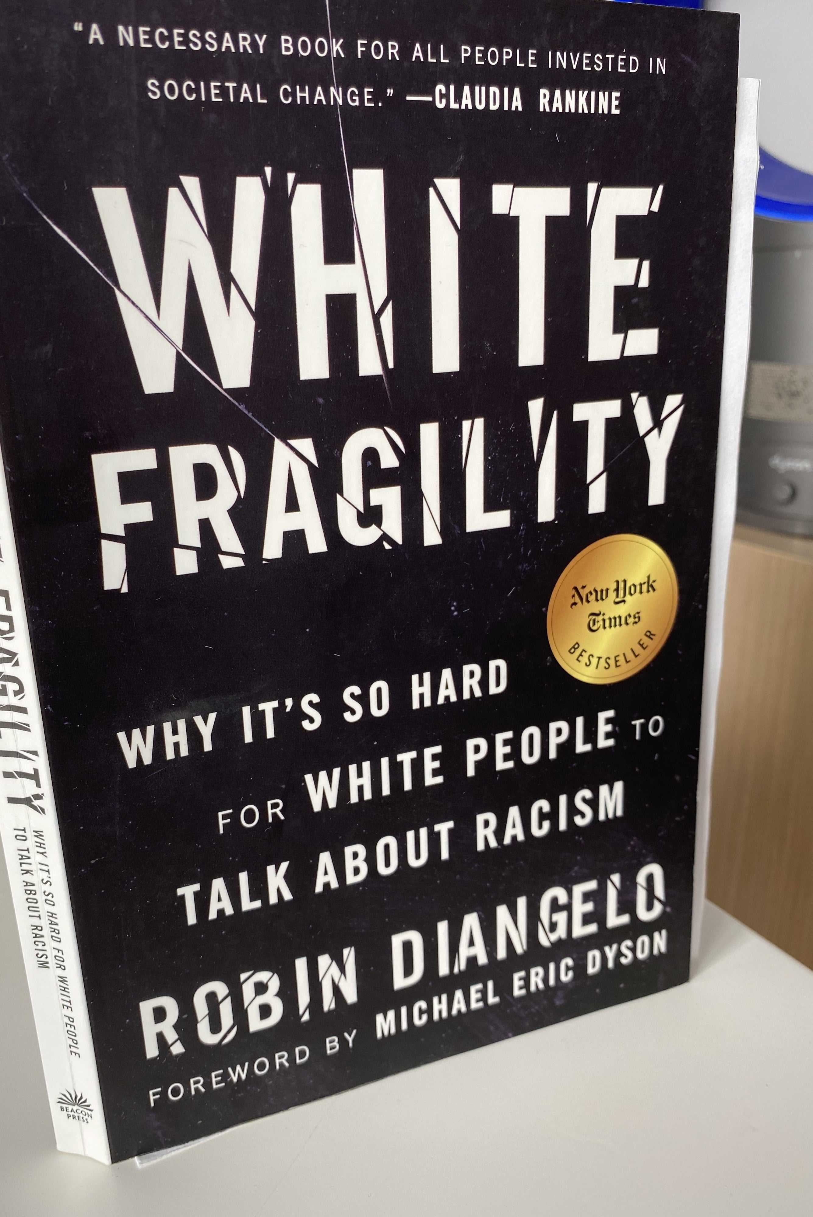 """Book cover shows title with the subtitle: """"Why it's so hard for white people to talk about racism"""""""