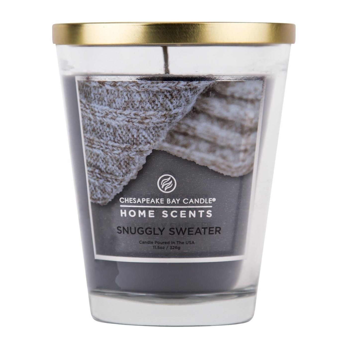 The grey sweater-themed candle