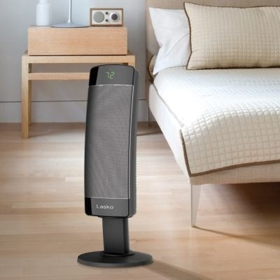 A black tower indoor heater