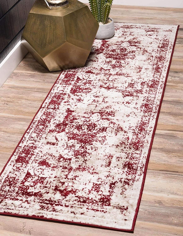 burgundy and white rug runner