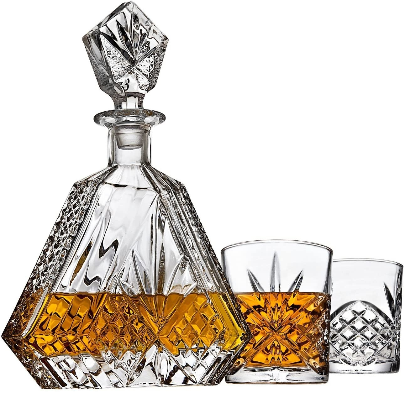 hexagon-shape decanter and matching glasses