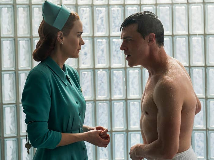 Nurse Ratched and Edmund Tolleson talking to one another